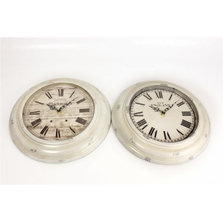 White Washed Antique Wall Clock 32cm 2a