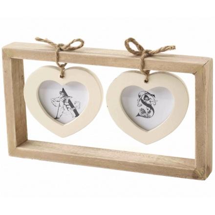 Twin Cream Hanging Hearts Photo Frame