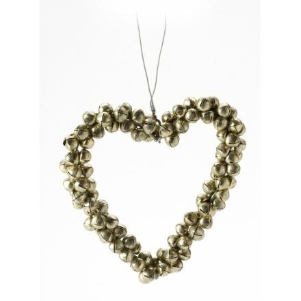 Gold Metal Bells Heart Hanger