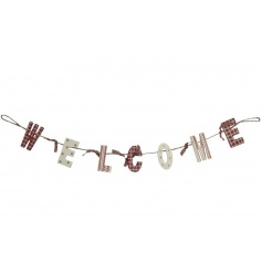 Nordic garland with wooden letters on string decorated with ribbon. Size 47cm