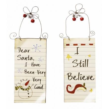 Small Dear Santa Signs 2 Asstd