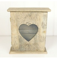 Wooden heart key box with washed effect. Mesh across the heart. 6 Hooks inside