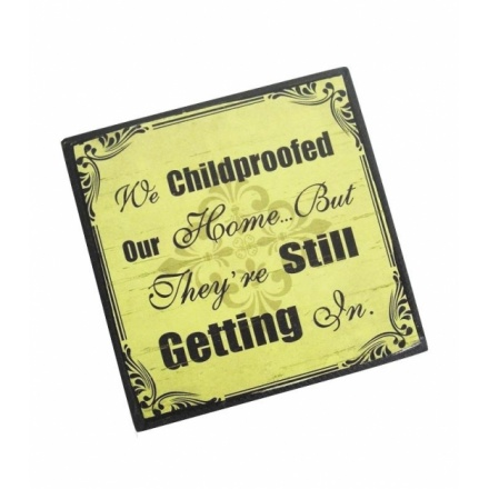 """""""We child-proofed our home but they're still getting in"""" vintage style comic magnet"""