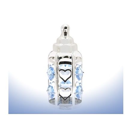 Silver Plate Crystal Bottle Blue