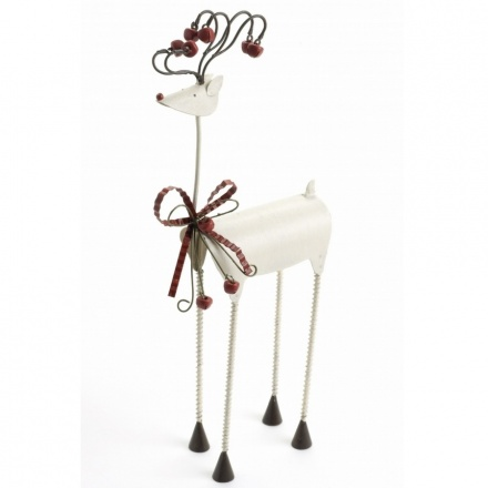 Small White Metal Reindeer With Bow