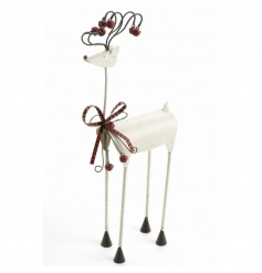 Long legged contemporary jingling reindeer with curly antlers and bells