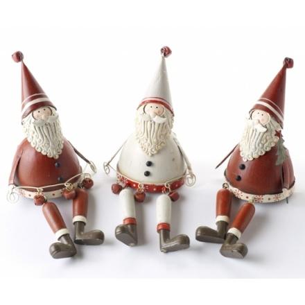 Metal Sitting Santas 3 Asstd