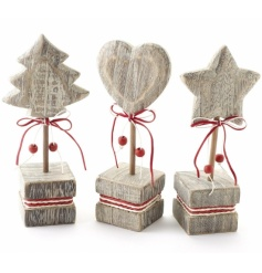 Three assorted festive charms to decorate the table, mantle, sill or shelf
