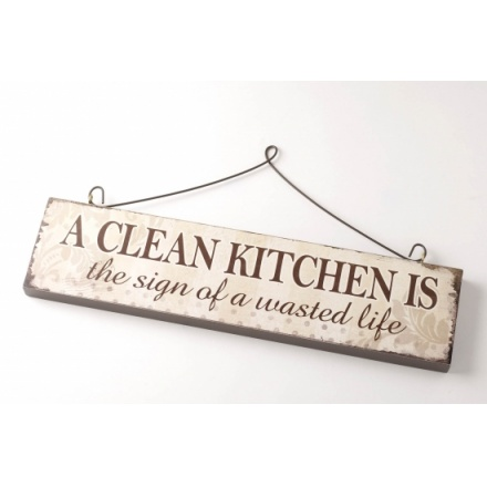 A Clean Kitchen Wooden Sign
