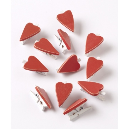 Wooden Red Hearts Peg Set