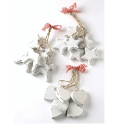 Vintage look rustic style festive wooden charms to hang around the house