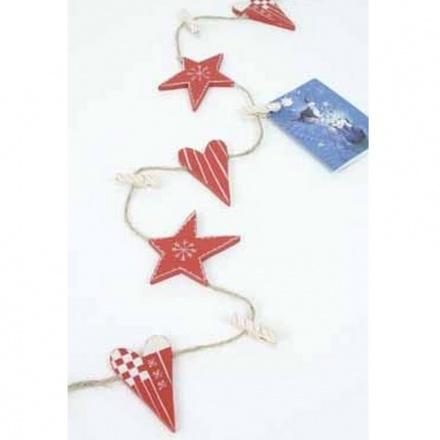 Wooden Heart and Star Peg Garland