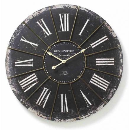 Large Antiqued Black Wall Clock