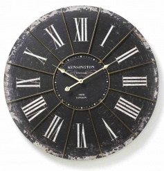 Large distressed black and white vintage style wall clock with roman numbers