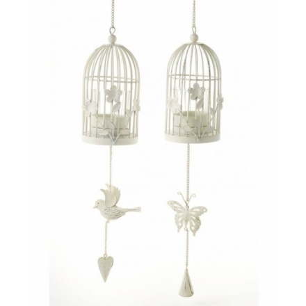 Hanging Cage Lantern With Flowers 2a