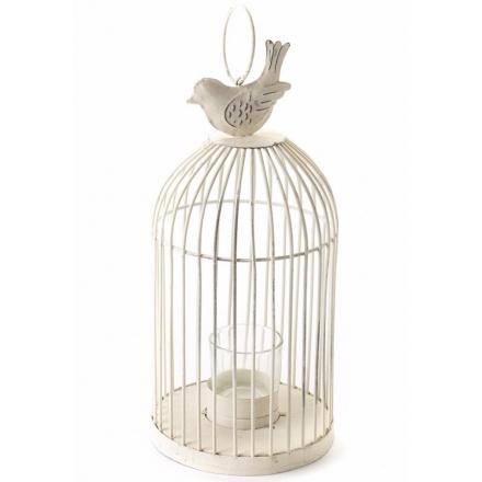 Medium T-Light Cage With Bird On Top Cream