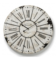 Distressed white clock with an antique style