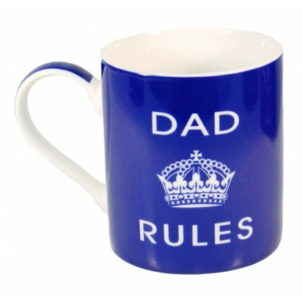 Fantastic royal blue 'Dad Rules' fine china mug. H10cm