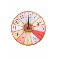 Small distressed, colourful wall clock with stand. L18.5cm