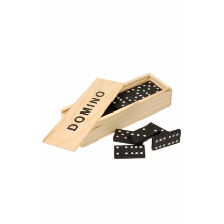 Traditional dominoes game in wooden box and retro display box of 12