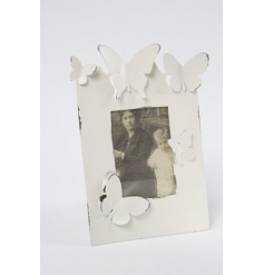 Picture frame finished in cream and decorated with butterflies. Part of our Shabby Chic range
