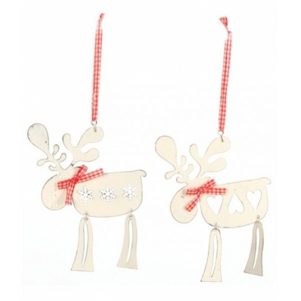 White Metal and Gingham Deer Hanger Mix
