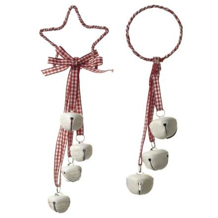 Gingham Ribbon and Bell Decoration Mix
