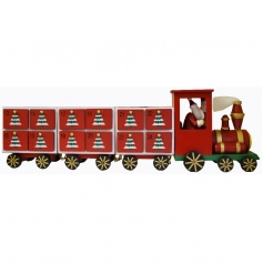 Fine quality traditional advent train with individual drawers and a Santa driver.