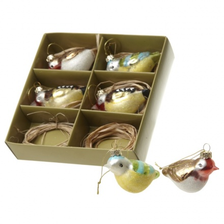 6 assorted coloured birds, great Christmas tree decoration