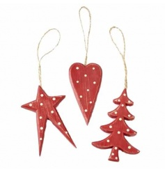 Wooden star, tree and heart handing decoration