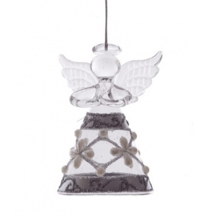 Glass Angel With Pearl & Glitter Design