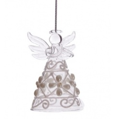 Christmas Angel made from glass and decorated with pearl and glitter design