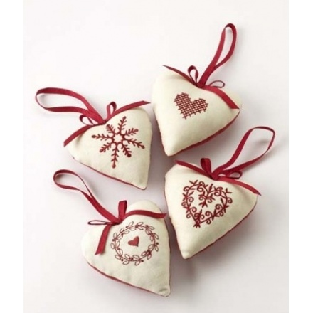 Cream and Red Heart Hangers Mix