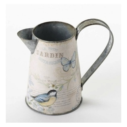 Small Metal Bird and Butterfly Jug
