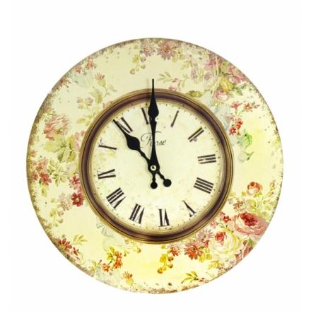 Pink Floral Print Clock