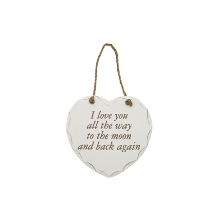 Moon and Back Hanging Heart Plaque