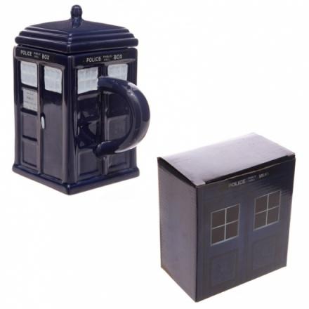 Police box shaped navy blue mug