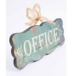 Wooden office sign with a vintage effect and gold ribbon bow to hang