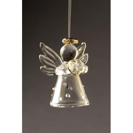 Small Polka Dot Glass Angel With Heart