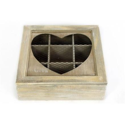 Lime Wash Heart Tea Box 22 x 7