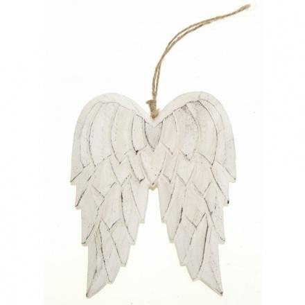 Hanging Carved Wooden Angel Wings Medium