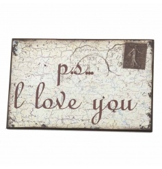 Iron wall plaque with distressed finish and quote