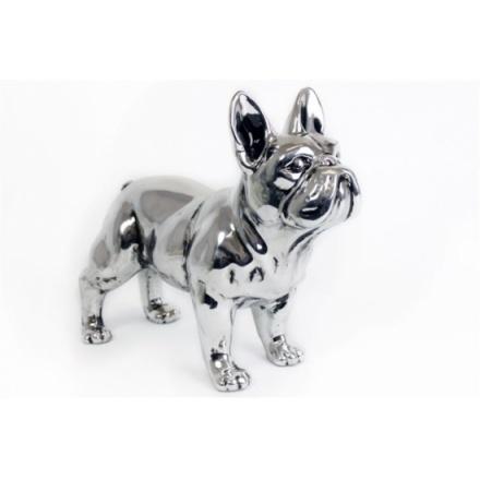 Antique Silver Standing Bulldog 29cm