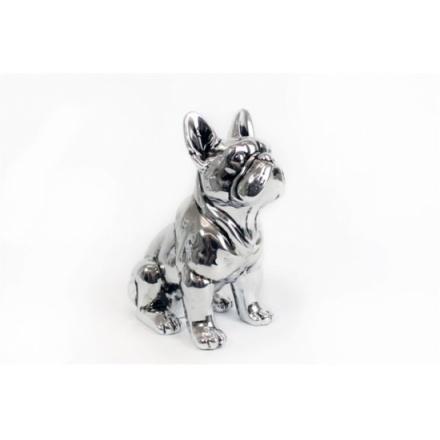 Antique Silver Sitting Bulldog 22cm