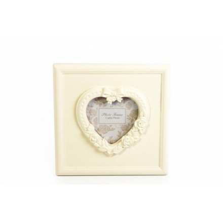 3 x 3 Cream Ornate Heart Photo Frame