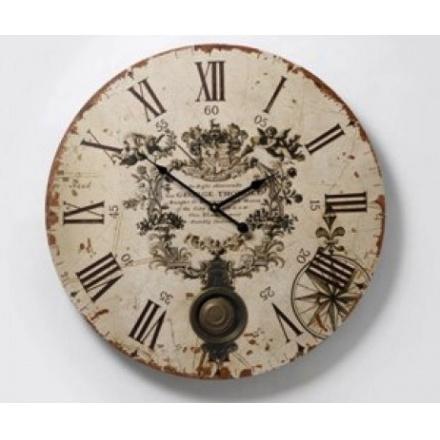 Vintage Cream Pendulum Wall Clock