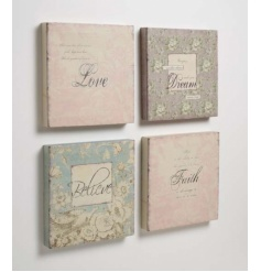 4 assorted square fabric pictures
