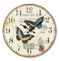 Wall hanging clock with vintage appearance and butterfly postcard design