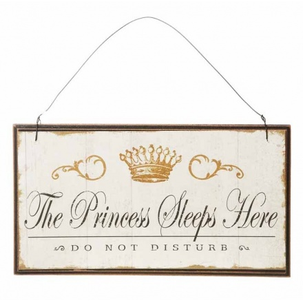 Vintage Princess Sleeps Here Small Wooden Sign