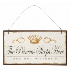 The Princess Sleeps Here - Do Not Disturb hanging wooden sign